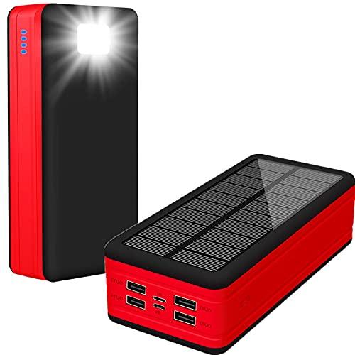 PWQ-01 50000mAh Solar Cargadores de Móvil, Type C Cargador Solar Portátil Salidas 5V 2.1A Gran Capacidad Power Bank Baterias Externas con Entradas 2 Y Linterna LED Powerbank para Teléfonos Etc