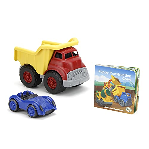 Green Toys Deluxe Dump Truck Set - 3 Piece Pretend Play, Motor Skills, Language & Reading Kids Toy Vehicle Set. No BPA, phthalates, PVC. Dishwasher Safe, Recycled Plastic, Made in USA.