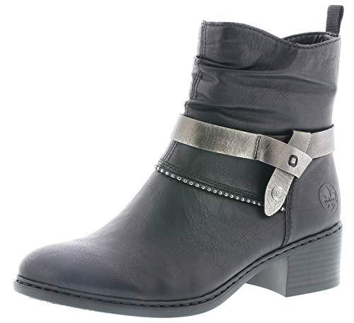 Rieker Damen Stiefeletten 77679, Frauen Stiefelette, halbstiefel übergangsschuh winterschuh Damen Frauen Lady,schwarz,39 EU / 6 UK