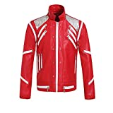 Luming Chaqueta con Cremallera roja para Adultos de Michael Jackson, Chaqueta de Cuero de Locomotora Personalizada (Rojo, X-Small)