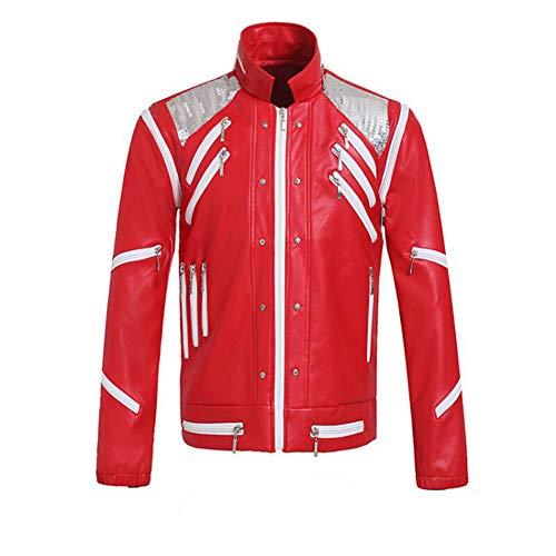 Luming Chaqueta con Cremallera roja para Adultos de Michael Jackson, Chaqueta de Cuero de Locomotora Personalizada (Rojo, Medium)
