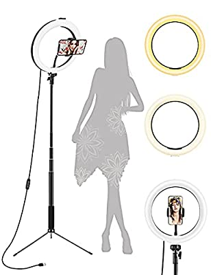 """Ring Light, 10.2"""" Selfie Ring Light with Tripod Stand & Phone Holder, Selfie Circle LED Lights Ringlight for Video Recording, TikTok, Conference, Makeup, IPhone, Laptop, Computer, 3 Light Modes,ZAZZIO from ZAZZIO"""
