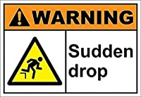 2個 警告突然の落下錫サイン金属プレート装飾サイン家の装飾プラークサイン地下鉄金属プレート8x12インチ メタルプレートブリキ 看板 2枚セットアンティークレトロ