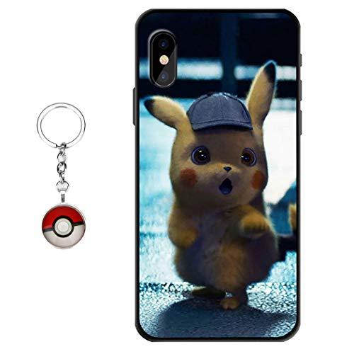 Coque Samsung Galaxy S10 Plus Pokémon Anime Pikachu Figure Design [avec porte-clés Pokémon], souple en silicone gel souple TPU Mignon dessins animés Coque pour Samsung Galaxy S10 Plus