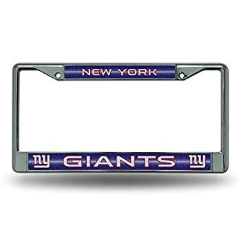 NFL Rico Industries Bling Chrome License Plate Frame with Glitter Accent New York Giants 6 x 12.25-inches