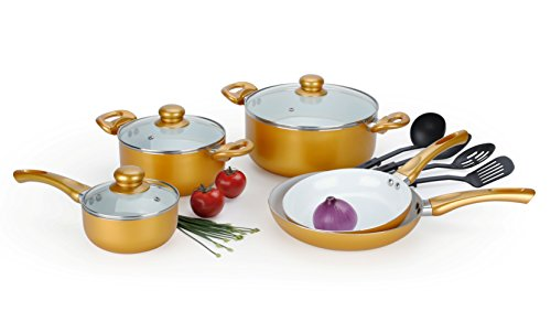 12 Pcs Gold Healthy Nonstick Ceramic Coated Cookware Set w/Tempered Glass Lids and Easy Grip Stay Cool Handles