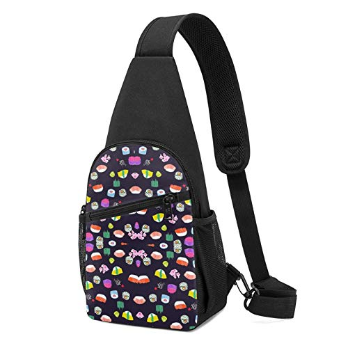 NiYoung Adults and Teen Shoulder Backpack Casual Chest Bag Gym Bags Lightweight Outdoor Backpack for Sport, Travel, Workout, Sushi Time Nom Nom