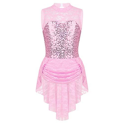 Inlzdz - Maillot de patinaje sobre hielo con falda alta, diseño floral con lentejuelas, Floral, Unisex niños, color rosa, tamaño 7-8 años
