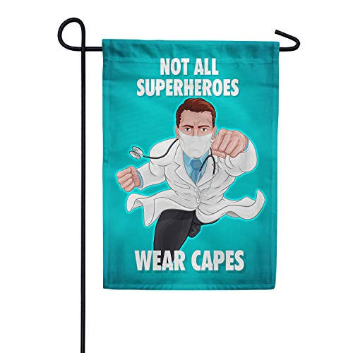 America Forever Flags Double Sided Garden Flag - Capeless But Still Super! - 12.5' x 18', Thank You Healthcare Workers, Fight Against Covid-19 Coronavirus Pandemic Flag, Yard Outdoor Decor Flags