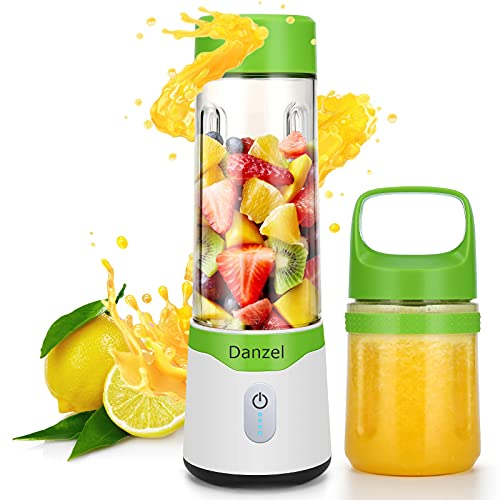 Portable Blender, Personal Blender for Shakes and Smoothies, USB Rechargeable Blender with 2pcs 16oz & 10oz Tritan BPA-Free Juicer Cups & Portable Lids