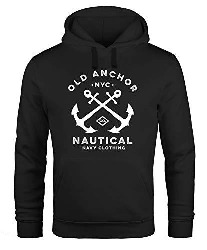 Neverless® Hoodie Herren gekreuzte Anker Old Anchor Nautical Kapuzen-Pullover Männer schwarz L