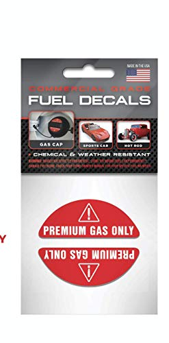 """""""Premium Gas Only"""" Gas Cap Stickers   Weather Resistant, Ultra Durable, Commercial Grade Decals"""
