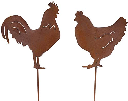 B2S BACK2SEASON Metall Stecker Henne & Hahn Edelrost Gartenstecker Beetstecker Hühner Deko Tierfigur Rost 2er Set