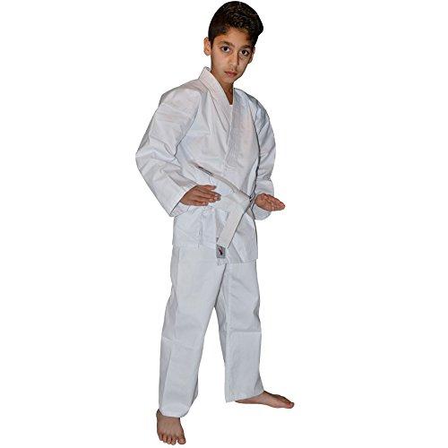TurnerMAX Kimono de karate artes marciales algodón TAE KWON DO uniforme Niños Jiu Jitsu Gi Judo niños adultos ropa color blanco 190