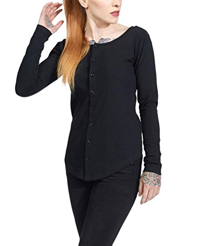 trueprodigy Casual Damen Marken Shirt Long Sleeve einfarbig Basic Oberteil Cool Stylisch Rundhals Langarm Slim Fit Langarmshirt für Frauen, Größe:S, Farben:Schwarz