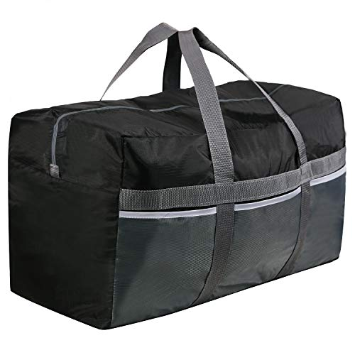 CAMPMAX 96L Extra Large Duffle Bags for Men and Women, Sturdy Oxford Lightweight Foldable Travel Duffel Bag 30x12x16 Inches, Black Maine