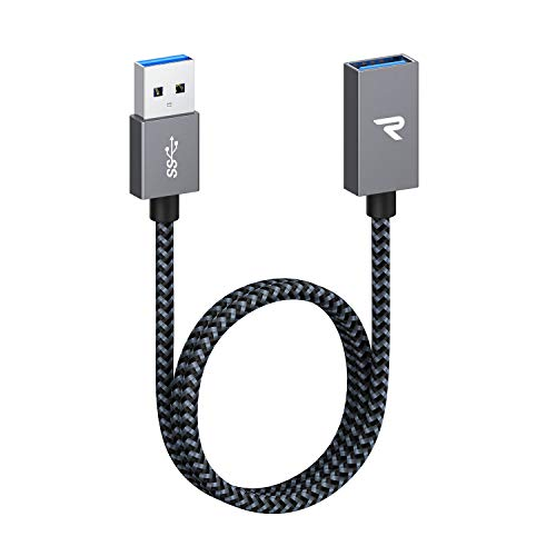RAMPOW Cable Alargador USB 3.0 [0.5M] Quick Charge 3.0 5Gbps USB A Macho A Hembra Cable Extension 500MB/S para Equipos y Accesorios electrónicos, PC, Laptop, Mouse, Teclado, Cámara, Gafas VR - Gris