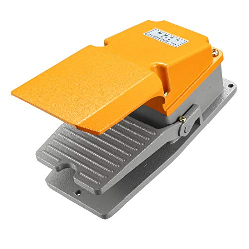 uxcell Industrial Electric Foot Pedal Switch with Guard, Momentary SPDT NO NC 380V/220V 15A Aluminum Case