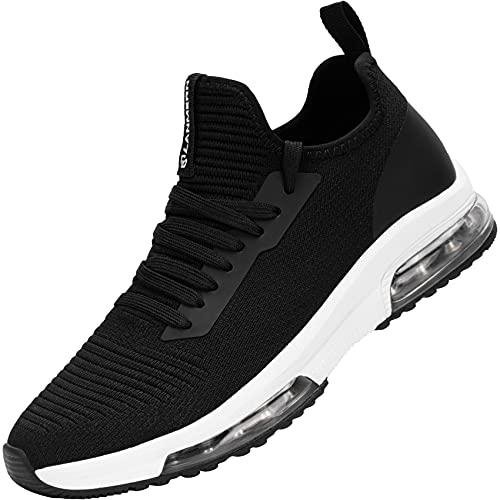 MHXDU Sneakers Donna Scarpe da Corsa Cuscino d'Aria Moda Tempo Libero Leggero Ammortizzazione Traspirante Scarpe da Ginnastica da Esterno(36 Bianco e Nero)