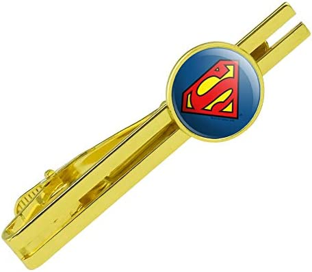 GRAPHICS MORE Superman Classic S Shield Logo Round Tie Bar Clip Clasp Tack Gold Color Plated product image