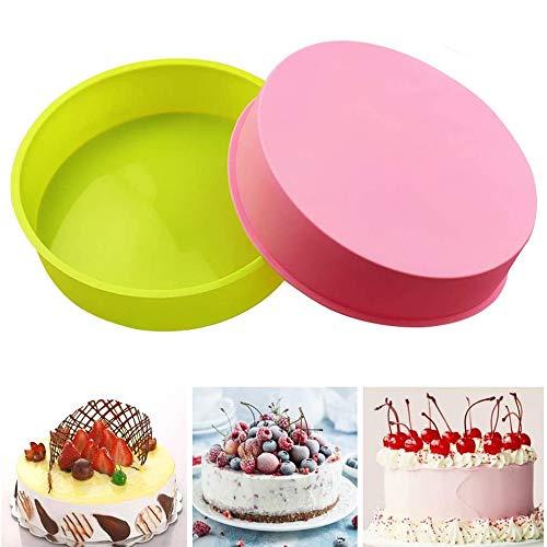 """Juego de 2 moldes de silicona redondos para tartas, Capas de Pastel Moldes Redondos de Silicona Cake Pan Hornear Molde Placa de Pizza DIY Molde Herramientas Redondas 8"""""""