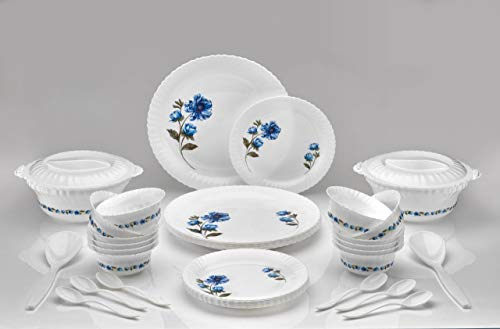 Rossela Brand Exclusive and Microwave Safe, Plastic Printed Round Flourish Dinner Set of 36 Pieces- (Blue)