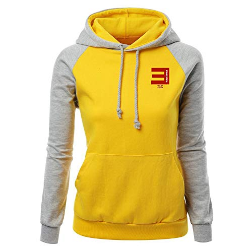 Eminem Pullover Frauen Casual Hoodie Tops Einfache Sweatshirt Dame-modische Patchwork Pullover Unisex (Color : Grey10, Size : M)