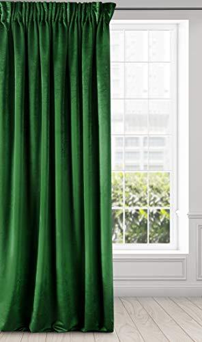 Eurofirany Vorhang Samt Velvet Schimmernd Gardine-Kräuselband Weich Schlafzimmer Wohnzimmer Lounge Edel, Dunkelgrün, 140x270 cm
