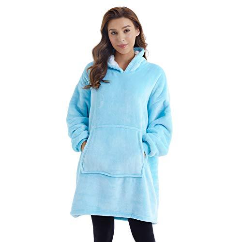 Sudadera con capucha, sudadera de sherpa de gran tamaño, manta súper suave y cálida, cómoda con capucha gigante, bolsillo frontal gigante, talla única