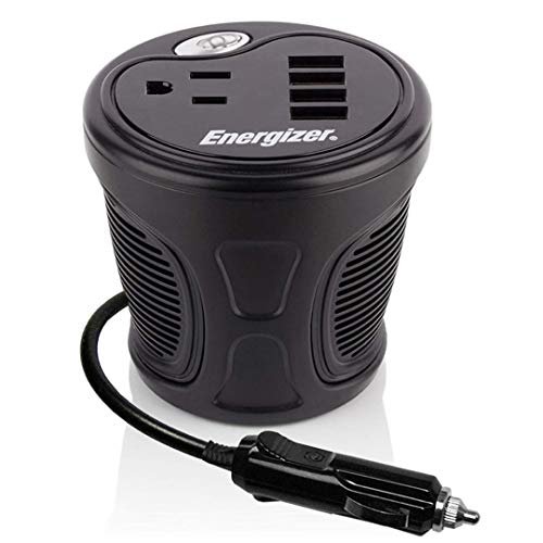 Energizer 150 Watts Power Inverter, 4 USB Ports 48 Watts Total and 2.4 Amps ea, Modified Sine Wave, 12 Volts DC to 110V AC - Ideal for Laptops, Tablets, Cellphones and More Portable Electronics