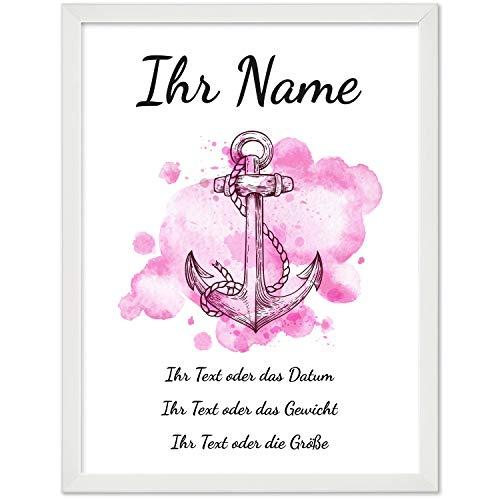 Personalisiertes Geschenk BILD MIT RAHMEN (weiß) Baby Geburt oder Taufe - Poster 40x30 cm mit Wunsch-Name und Datum - schlicht - Rosa Aquarell Look mit Anker für Mädchen
