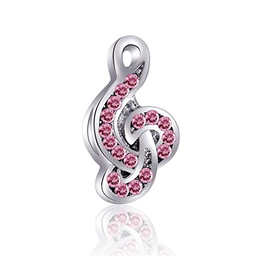 Bolenvi Music Treble Clef Note Pink Swarovski Crystals 925 Sterling Silver Charm Bead for Pandora & Similar Charm Bracelets or Necklaces