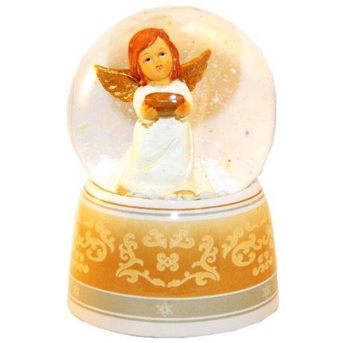 20038 - Schneekugel Engel beige/weiß mit Schale mit Spieluhr 140mm hoch
