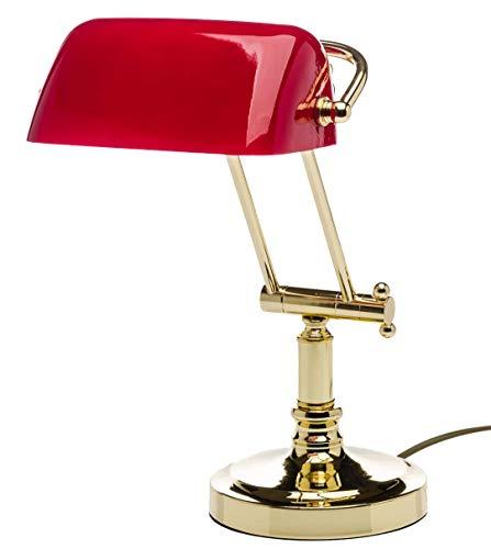Tischlampe Bankerslamp Bankers lamp Messing Schreibtischlampe rot