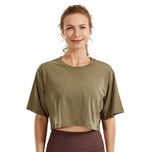 CRZ YOGA Women's Pima Cotton Workout Crop Top Short Sleeve Running T-Shirt Casual Athletic Tee