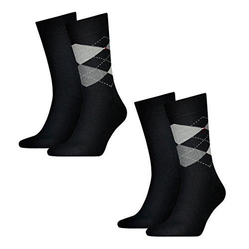 Tommy Hilfiger 4 pairs Men's Check Socks Gr. 39-46 Business sneaker socks, Farben:200 - black, Socken & Strümpfe:39-42