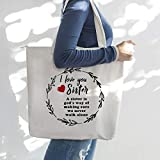 Tote Bag for Women,Canvas Tote Bag,Large Tote Bag-Sister Gifts, Sister Gifts for Sister-I Love You Sister,A Sister is God's way of Making Sure We Never Walk Alone