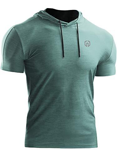 Neleus Men's Workout Running Gym Short Sleeve Muscle Shirt with Hoods,Light Green,1 Piece,US 2XL,EU 3XL