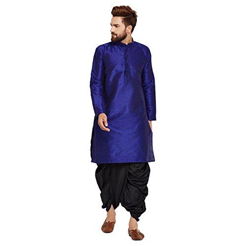 Sojanya Men's Dupion Silk Kurta Dupion Silk Dhoti Set Large Royal Blue And Black