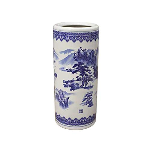 Paragüeros cerámica Azul Blanco Redondo Redondo para el hogar Cubo de Paraguas, Ideal Soporte de Palo (Color : LLA2453SJ)