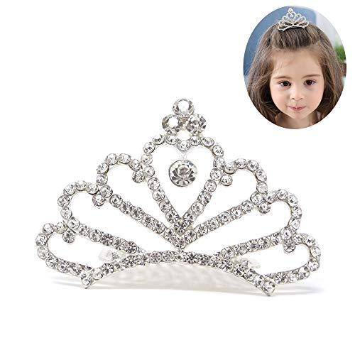 Honbay Princess Tiara Comb, Flower Girls Crystal Rhinestone Crown Hair Comb Hair Accessories