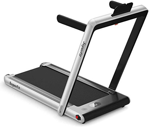 Byroce Adjustable Folding Treadmill, 2.25HP Speed Adjustable Under-Desk Electric Treadmill with Folding Handrails, Bluetooth Speaker, Remote Control and LED Display, Use Jogging Machine (Silver)