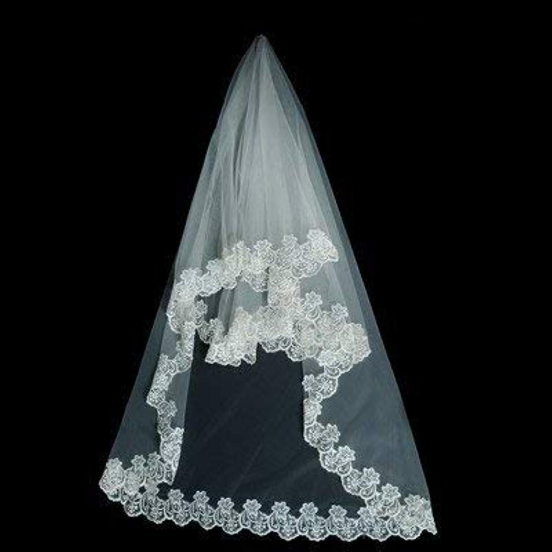 鉱夫遺伝的政治的002  ホワイト ウエディングベール  1枚の長いベール 約1.3m-1.5m 単層ベール 花嫁用品  1枚入れ 並行輸入品ホワイト