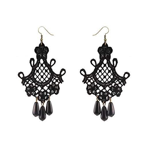 JIEERCUN Pendientes de Gota de la Mujer Vintage Black Lace Tassel Pendientes Pendientes Holiday Exagerated Ear Hook Accesorios Pendientes Mujer Plata (Color : Black)