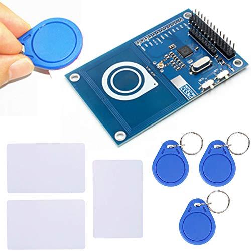 Youmile PN532 13.56MHz Scheda di sviluppo per lettore di schede IC RFID preciso NFC per Arduino compatibile con Raspberry PI on-board antenna blu con scheda bianca e chiave magnetica