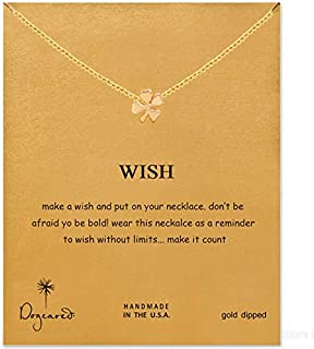SX Commerce Friendship Clover Necklace Good Luck Pendant Chain Necklace Best Wishes Card to Girls, Women, Friends with Mes...