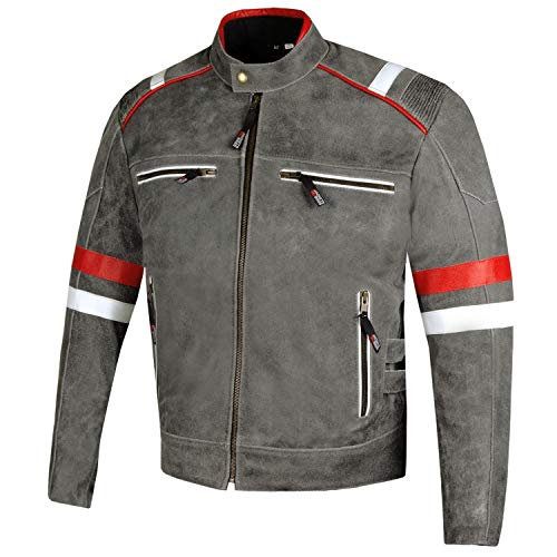 Men's Freedom Vintage Distress Cow Leather Motorcycle CE Armor Biker Jacket XXL