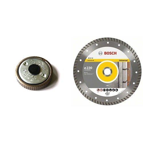 Bosch 1 603 340 031 - Tuerca de sujeción rápida - - (pack de 1) + Disco tronzador de diamante - Universal Turbo - 125 x 22,23 x 2 x 10 mm