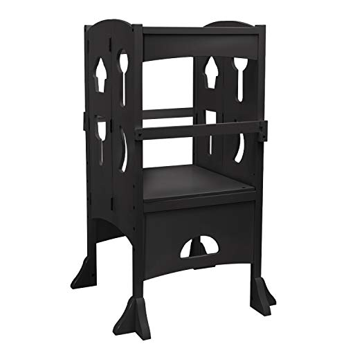 YOUNIS Wooden Kitchen Step Stool for Kids, Toddlers Collapsible Tower for Kids Folding Stool, No-Slip Design Kitchen Safety Cooking Standing Stool for Children - Espresso