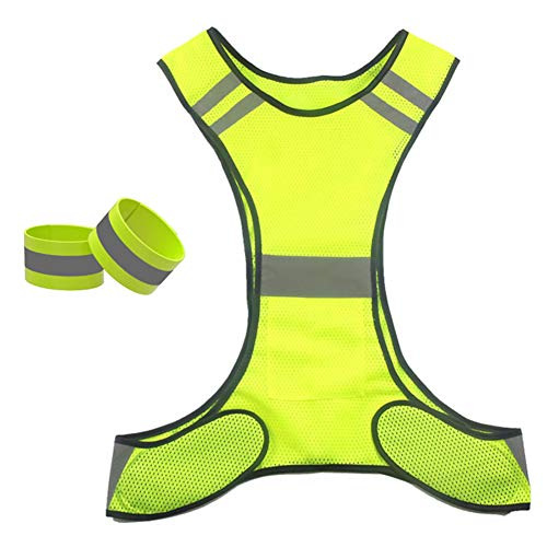 Reflective Vest,(2 Pieces) Running Vest Men Women for Over Jacket,High Visibility Reflective Cycling Gear Night Walking Jogging Dog Riding,Cycling or Early Morning and Night Activities,Green